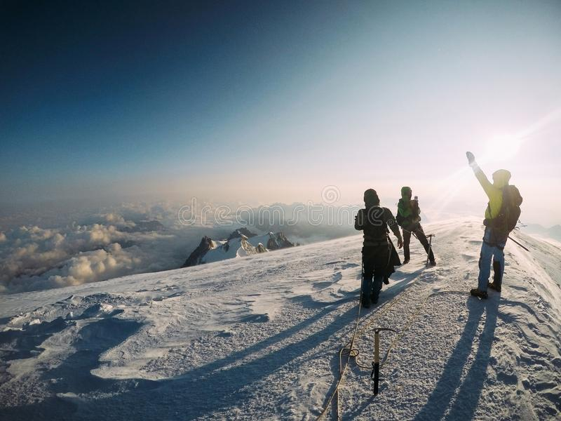 A group of climber friends on top of Mont Blanc stock image