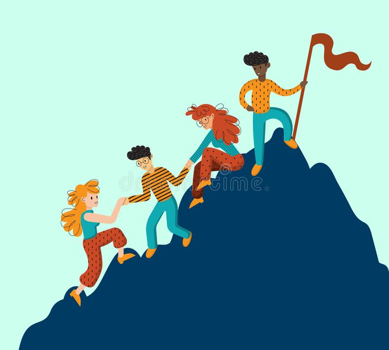 Group of climbers helping each other. Concept of teamwork. International business people in mountains. Leader on the top. Vector illustration in cartoon style stock illustration