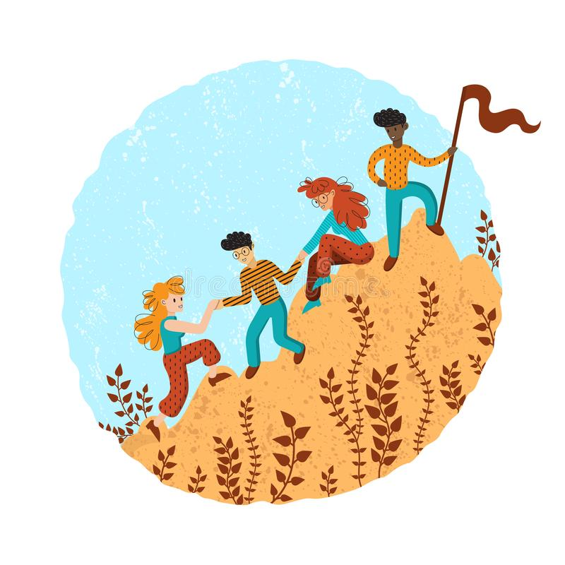 Group of climbers helping each other. Concept of teamwork. International business people in mountains. Leader on the top. Vector illustration in flat cartoon vector illustration