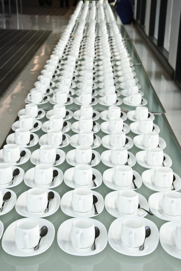 Group of coffee cups.empty cups for coffee.Many rows of white cup for service tea or coffee in breakfast at buffet event.white cup stock photos