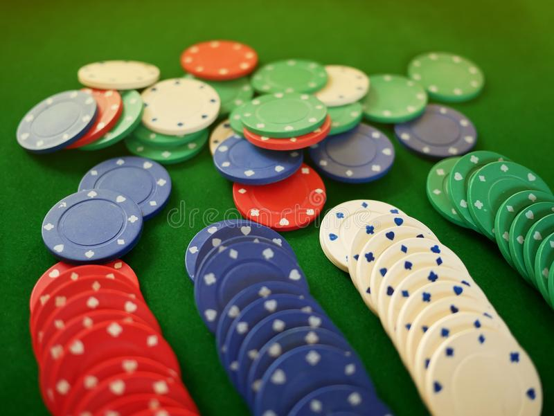 Group of coloful gamble chips stock images