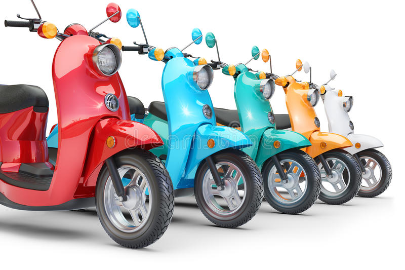 Group color scooters in row vector illustration