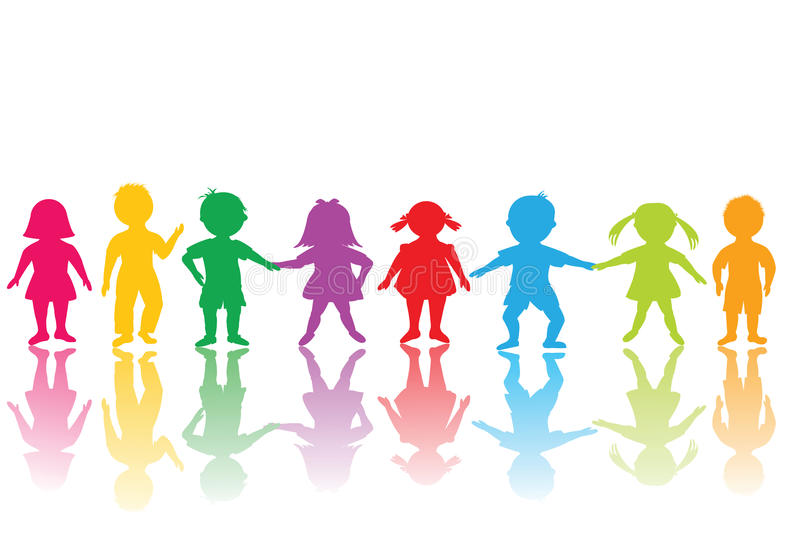 Group of colored children royalty free illustration