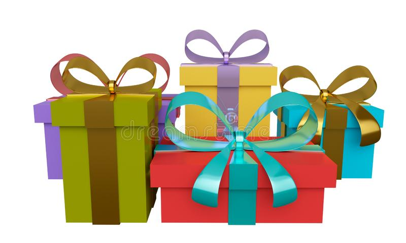 Group of colored gift boxes with ribbon and bow. 3d rendering stock illustration