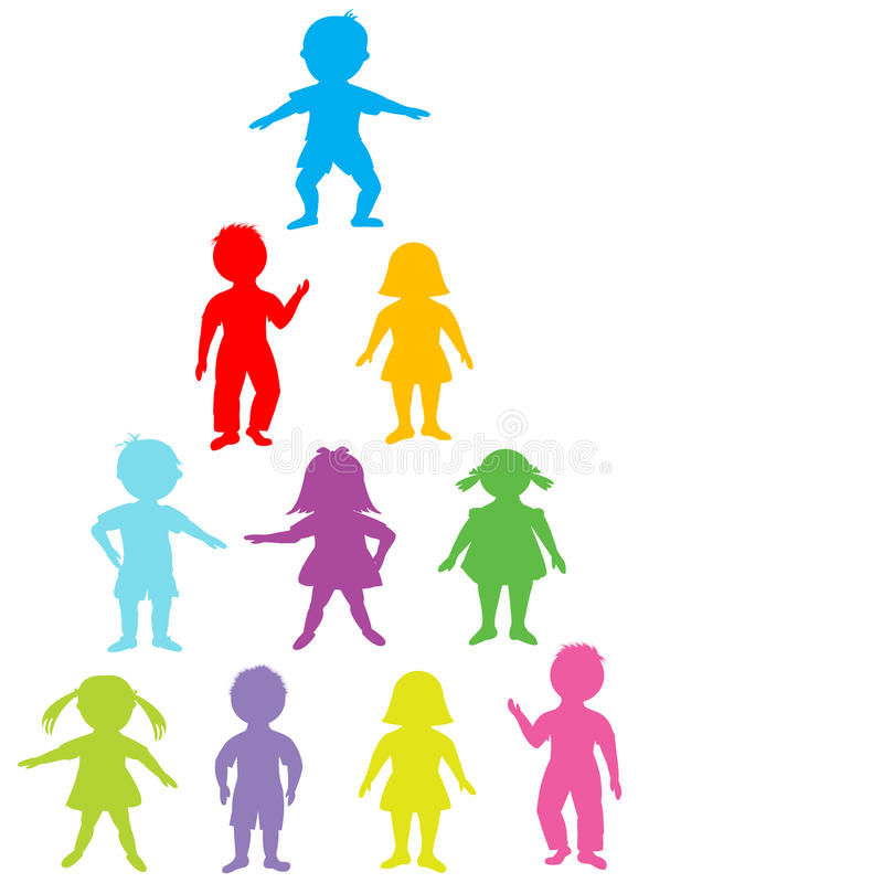 Group of colored stylized kids vector illustration