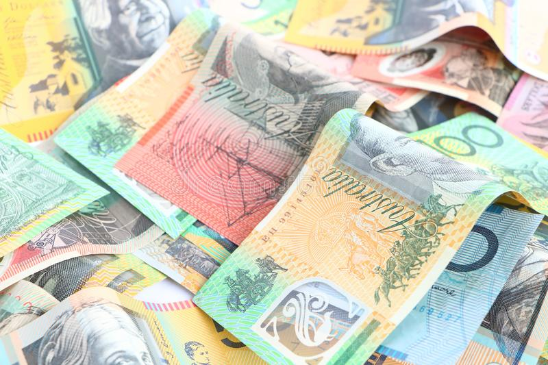Group of colorful australian money banknote dollar AUD pile stock photos