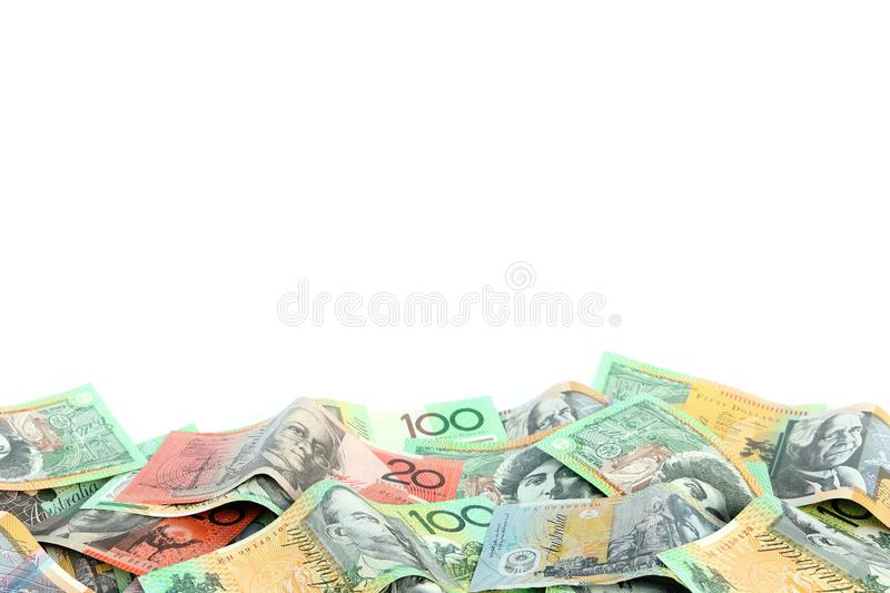 Group of colorful australian money banknote dollar AUD pile on white background royalty free stock photo
