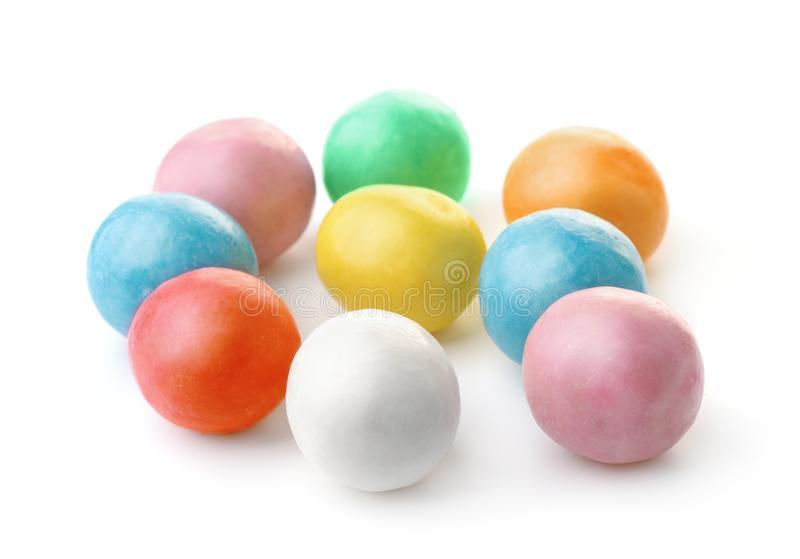 Group of colorful chewing  gum balls. Isolated on white stock images