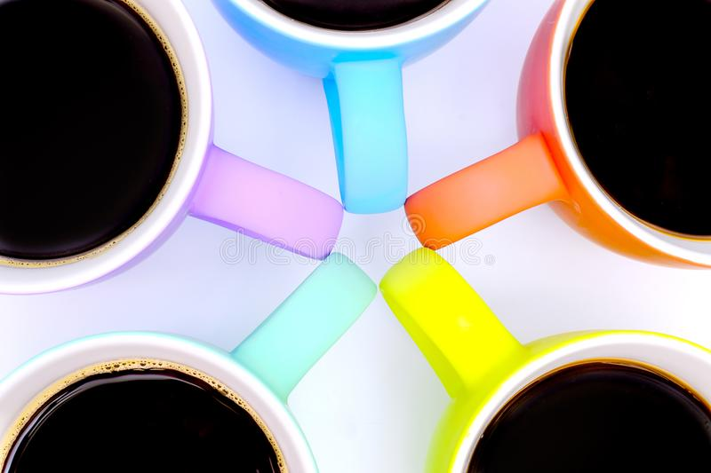 group of colorful coffee mugs royalty free stock photo