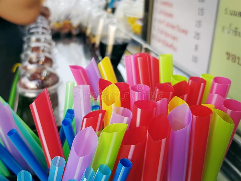 Group of Colorful Drinking Straws at Thai Dessert Store royalty free stock images