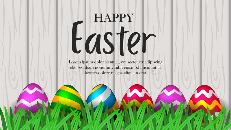 Group colorful fun egg with green grass and wood texture background for easter event part. Y. Poster, banner, brochure, invitation, greeting card royalty free illustration