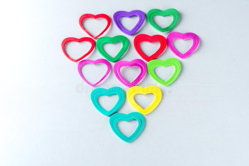 Group of colorful hearts on white background. stock image