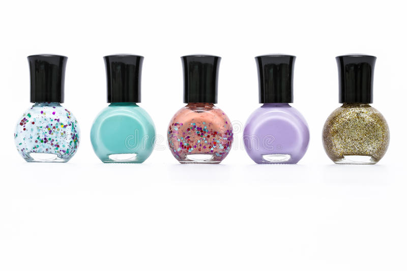 Group Of Colorful Nail Paint Bottle On White Background Stock Image ...