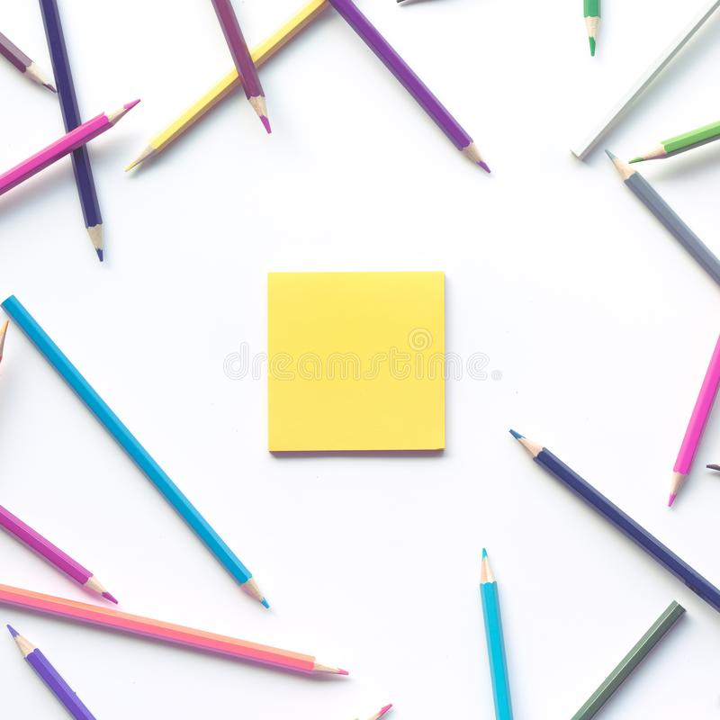 Group of colorful pencil with copy space note paper background.Business creativity and education. Ideas concepts royalty free stock image