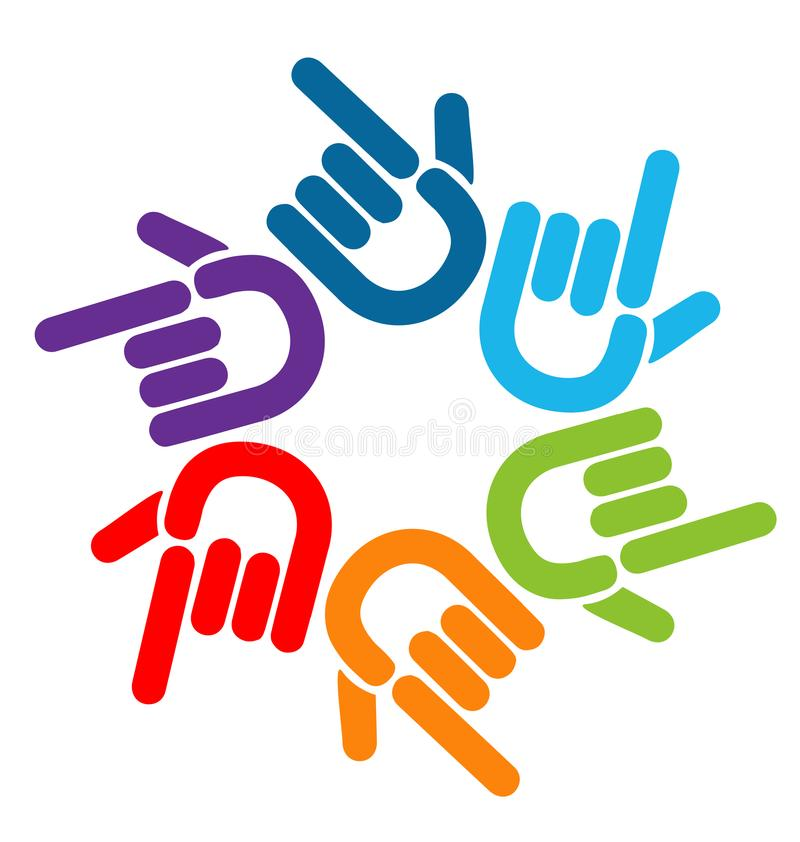 Teamwork pointing colorful hands, icon logo vector stock illustration