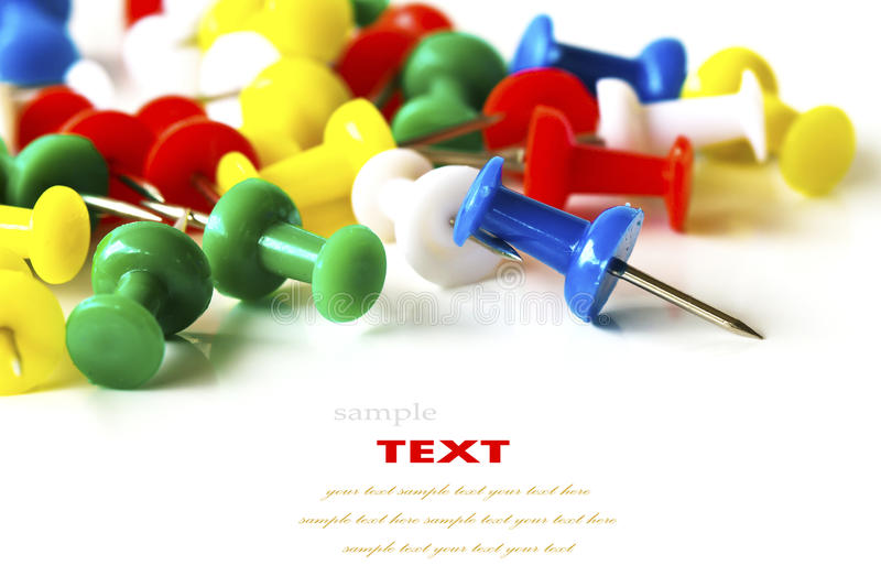 Group of colorful push pins stock photography