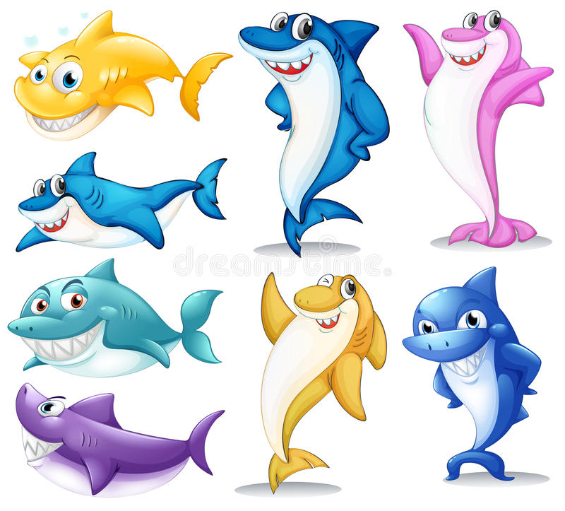 A group of colorful sharks royalty free illustration