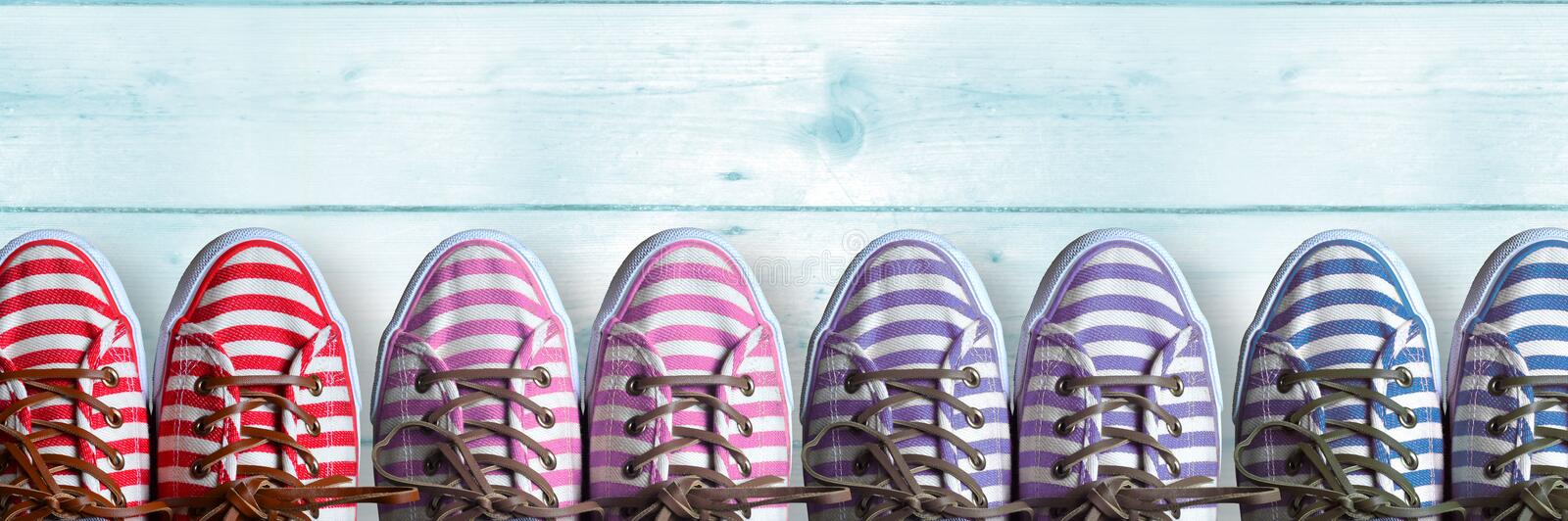 Group of colorful shoes royalty free stock photography