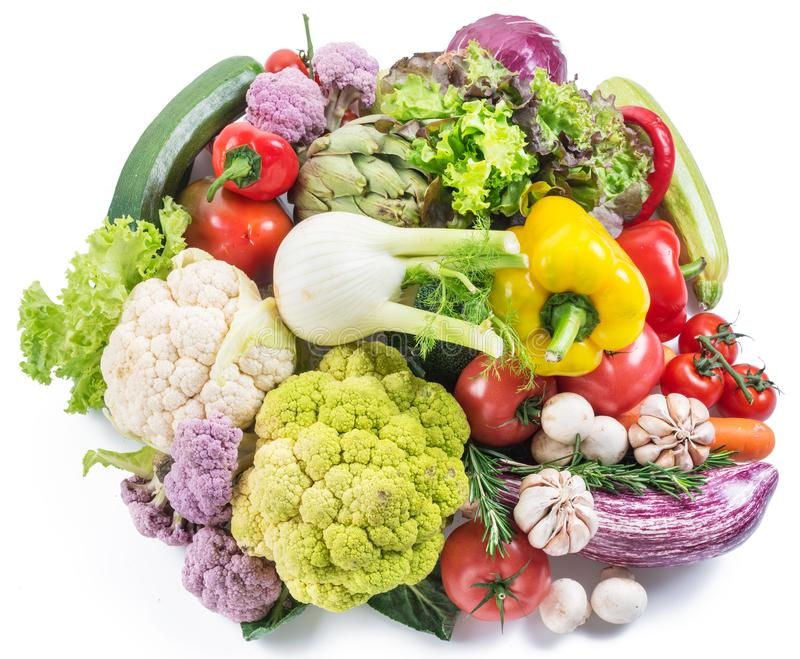Group of colorful vegetables on white background. Close-up stock photos