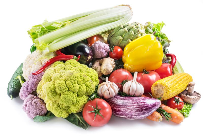 Group of colorful vegetables on white background. Close-up. stock photography