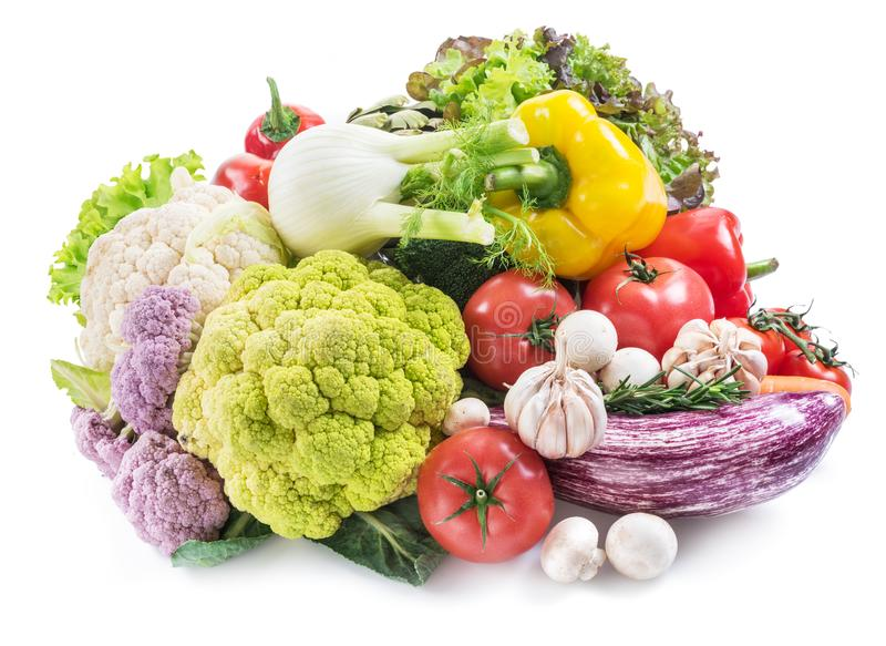 Group of colorful vegetables on white background. Close-up. stock images