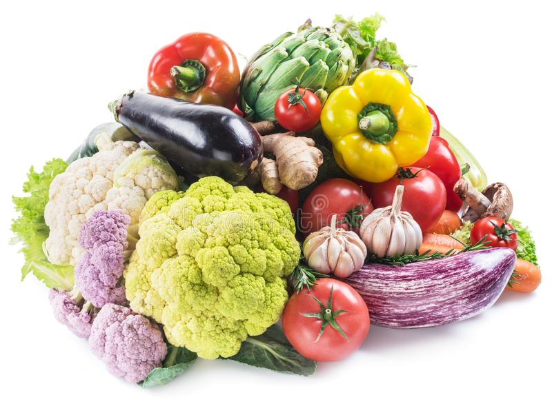Group of colorful vegetables on white background. Close-up. royalty free stock photography