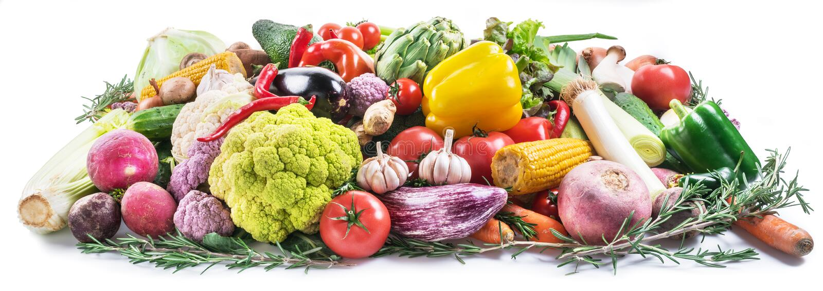 Group of colorful vegetables on white background. Close-up royalty free stock image