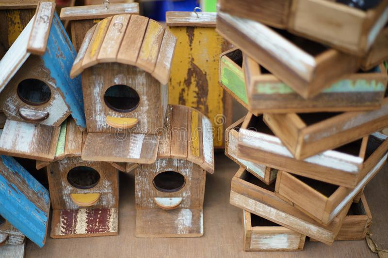 Group of colorful Wood bird house close up.  stock photo