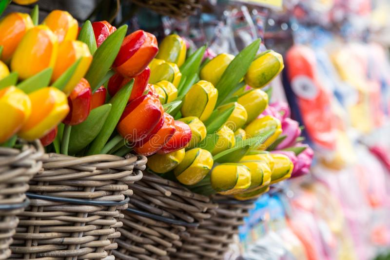 Group of colorful wooden tulips, Netherlands. Souvenirs from Amsterdam in holland.  royalty free stock photos