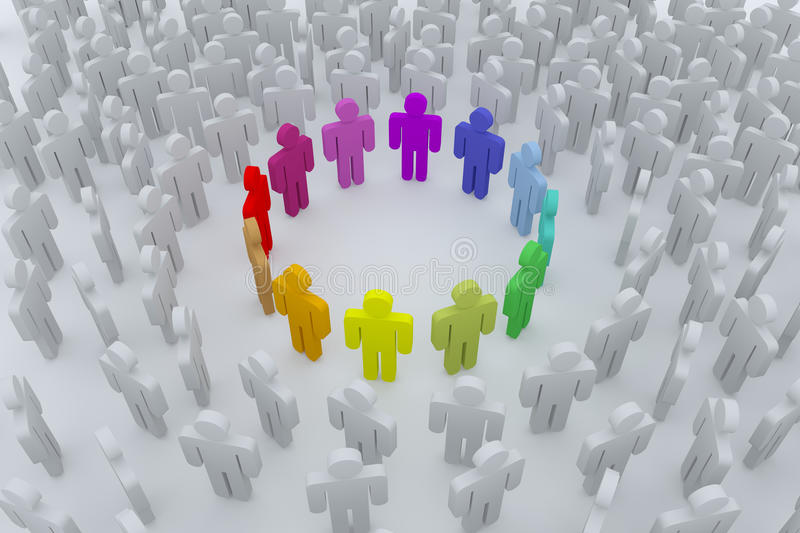 Group of colour people royalty free illustration