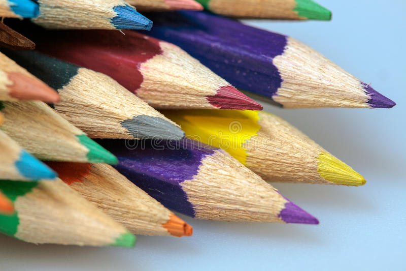 A group of coloured pencils. A group of sharpened coloured pencils royalty free stock image