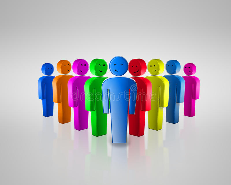 Download Group Of Coloured Smiling People With Social Chat Stock Illustration - Image: 22033180