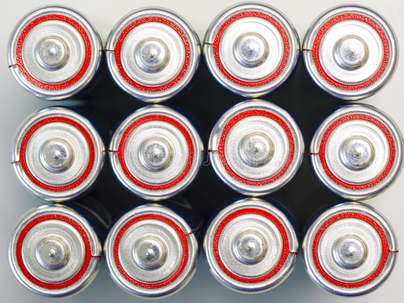 Group of commercial primary battery, alkaline battery in the top royalty free stock image