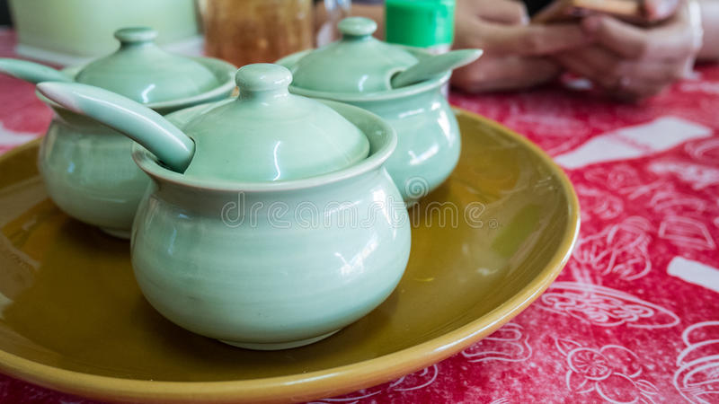 Group of condiment bowl on table.  royalty free stock image