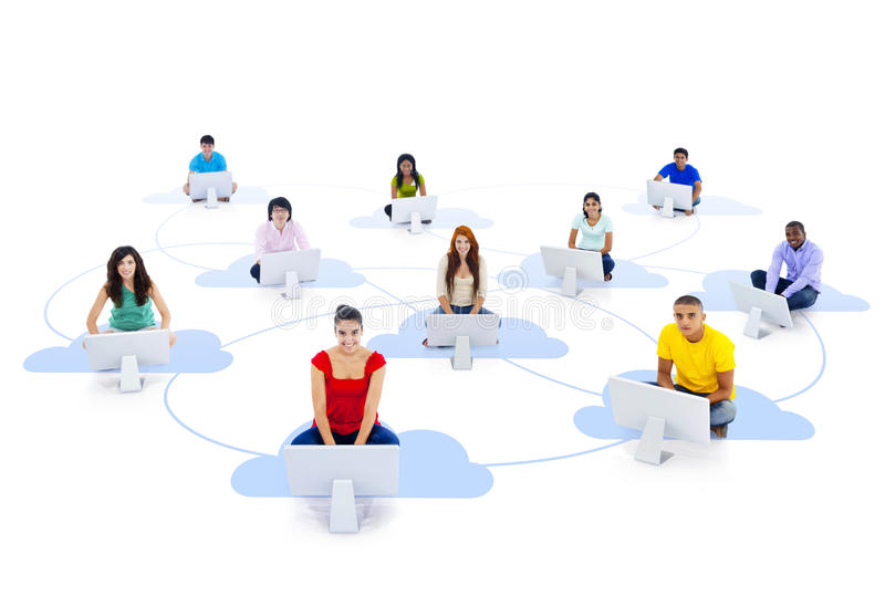 Group of Connected Multi-Ethnic People Sitting on a Cloud stock images