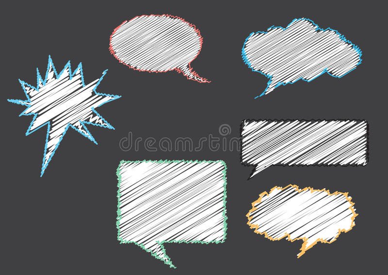 Group of conversation bubbles on gray backgrounds stock illustration