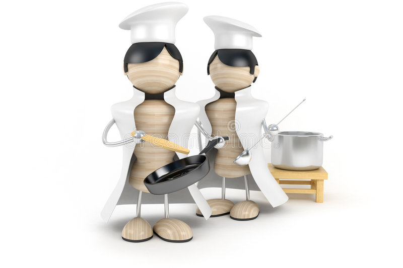 Group cooks. With ladle and frying pan in kitchen vector illustration