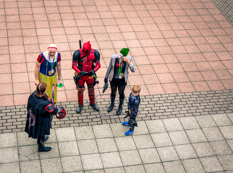 Group of cosplayers at the Yorkshire Cosplay Convention. Sheffield, UK - June 12, 2016: Looking down at a group of cosplayers at the Yorkshire Cosplay Convention royalty free stock photography