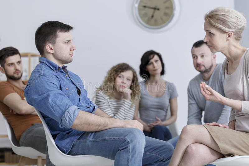 Group counseling session stock photography