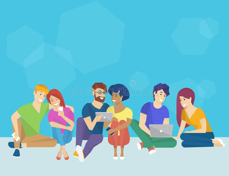 Group of creative people using smartphone, laptop and tablet pc sitting on the floor. And talking each other. Flat concept illustration of creative thinking and royalty free illustration