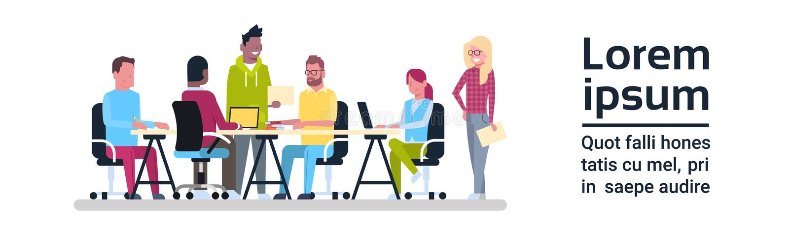Group Of Creative People Working Business Meeting Team Sitting At Office Desk Brainstorming. Flat Vector Illustration royalty free illustration