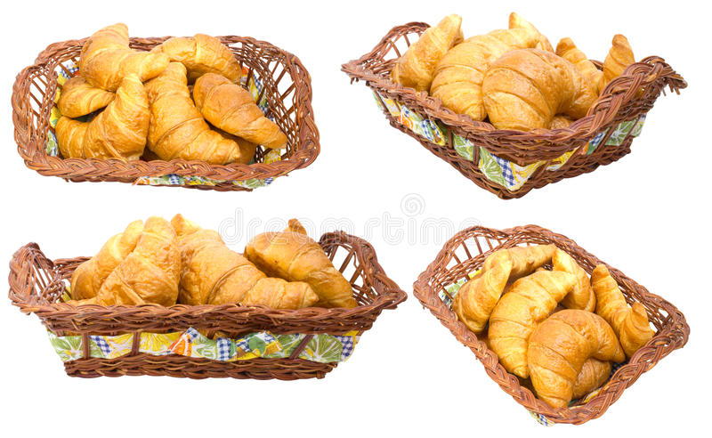 Download Group Croissants In A Basket. Collage Stock Photos - Image: 20113343