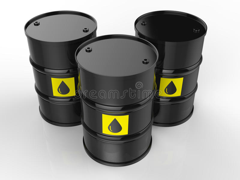 Group of crude oil barrels with yellow label. 3d rendering group of crude oil barrels with yellow label stock illustration