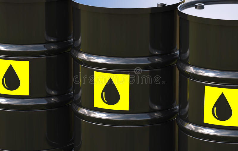 Group of crude oil barrels with yellow label. 3d rendering group of crude oil barrels with yellow label royalty free illustration