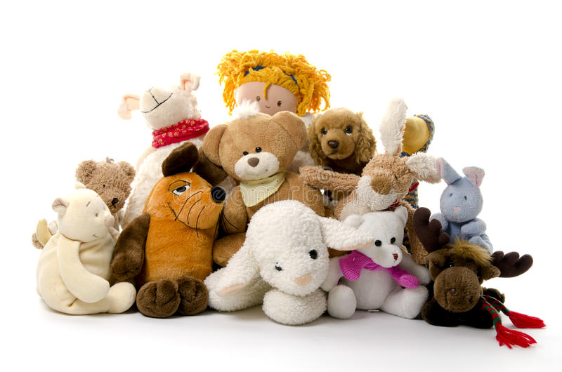 Group of cuddly toys. On white background royalty free stock photography