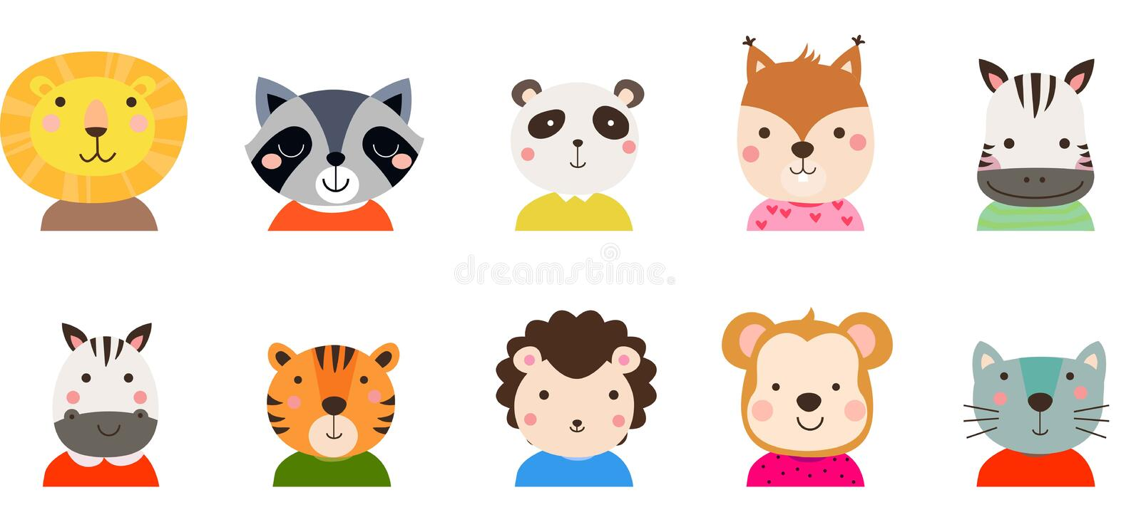 Group of cute  animals collection royalty free stock images