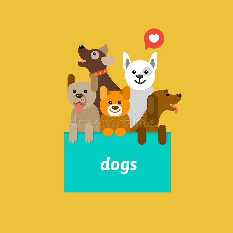 Group of cute dogs. royalty free illustration