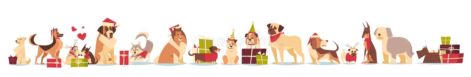 Group Of Cute Dogs In Santa Hats Symbol Of 2018 New Year And Christmas Holidays Isolated On White Background. Flat Vector Illustration stock illustration