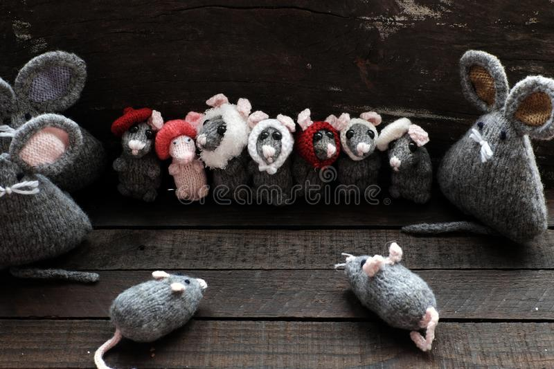 Group of cute grey mice and small rat on black. Funny concept with group of cute grey mice and small rat on black wooden background, handmade product knit from stock photo