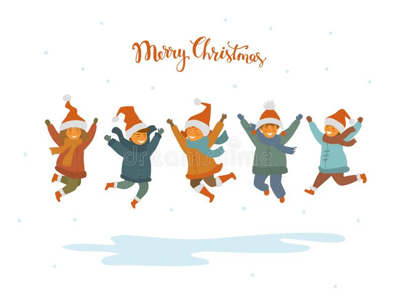 Group of cute happy children, boys and girls jumping for joy for christmas, isolated vector illustration vector illustration